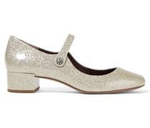 Lexi Mary-jane-pumps Aus Lackleder Mit Glittereffekt - Silber