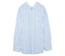 Gestreiftes Hemd Aus Baumwollpopeline In Oversized-passform - Blau