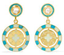 Ohrringe Aus 18 Karat  Mit Diamanten Und Emaille