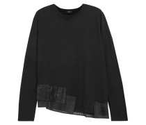 Pullover Aus Baumwoll-jersey Mit Plissiertem Organzabesatz -