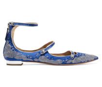 + Claudia Schiffer Cloudy Star Flache Schuhe mit Spitzer Kappe und Stickereien -