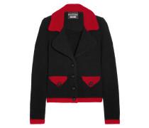 Zweifarbige Jacke Aus Bouclé Aus Einer Wollmischung - Schwarz