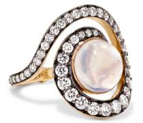 Spiral Planet Ring Aus 18 Karat  Mit Mehreren Steinen