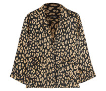 Lake Pyjama-hemd Aus Vorgewaschener Seide Mit Leopardenprint - Leoparden-Print