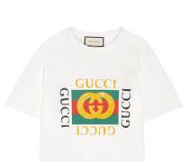 Bedrucktes T-shirt Aus Baumwoll-jersey In Distressed-optik Mit Applikation - Weiß
