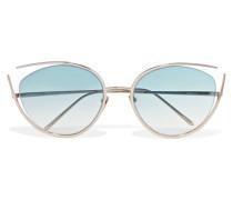 Goldfarbene Sonnenbrille Mit Cat-eye-rahmen -