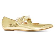 Verzierte Flache Schuhe Aus Metallic-leder Mit Spitzer Kappe - Gold