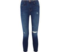 Alana Verkürzte Hochsitzende Skinny Jeans In Distressed-optik - Mittelblauer Denim