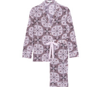 Landon Bedruckter Pyjama Aus Vorgewaschener Seide - Flieder