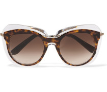 Sonnenbrille mit eckigem Rahmen aus Azetat und goldfarbenem Metall