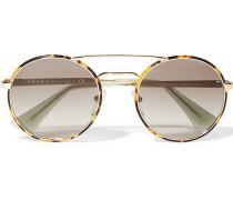 Sonnenbrille aus Azetat und goldfarbenen Metall mit rundem Rahmen