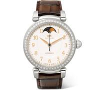 Da Vinci Automatic Moon Phase 36 Uhr Aus Edelstahl Mit Diamanten Und Alligatorlederarmband -