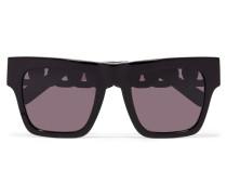 Oversized-sonnenbrille Mit Eckigem Rahmen Aus Azetat Mit Goldfarbenen Details -