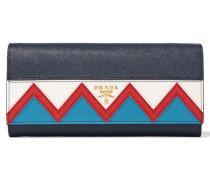 Zig Zag Portemonnaie Im Europäischen Stil Aus Strukturiertem Leder - Navy