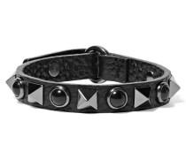 Verziertes Armband Aus Strukturiertem Leder - Schwarz