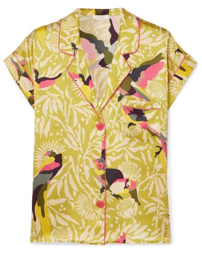 Carola Bedrucktes Pyjama-hemd aus Seidensatin