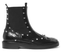Chelsea Boots Aus Leder Mit Nieten - Schwarz