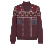 Pullover Aus Einer Wollmischung Mit Intarsienmuster - Burgunder