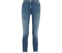 The Stunner Verkürzte, Halbhohe Skinny Jeans Mit Gefranstem Saum -