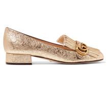 Marmont Loafers Aus Craquelé-leder Mit Metallic-effekt Und Fransen - Gold