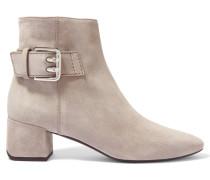 Ankle Boots Aus Veloursleder Mit Schnallen - Stein