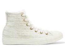 Chuck Taylor All Star High-top-sneakers In Strick Mit Besatz Aus Shearling-imitat - Wollweiß