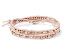 Wickelarmband mit Zierperlen in Rosé und Silber -