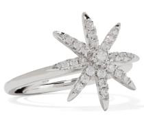 Rhodinierter Ring Mit Cubic Zirkonia-steinen - Silber