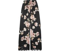 La Donna Del Fioraio Pyjama-hose Aus Seidensatin Mit Blumendruck Und Spitzenbesatz -