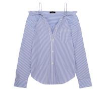 Tamalee Schulterfreies Hemd Aus Gestreifter Baumwollpopeline - Blau