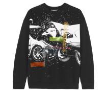 Bedrucktes Sweatshirt Aus Baumwoll-jersey - Schwarz