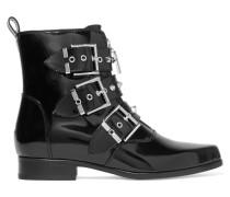 Ankle Boots Aus Glanzleder Mit Nietenbesatz - Schwarz