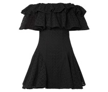 Schulterfreies Minikleid mit Rüschen und Lochstickerei -