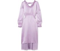 Hybrid Kleid Aus Seidensatin Und Plissiertem Crêpe De Chine Mit Rüschen -