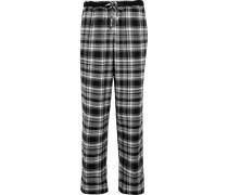 Karierte Pyjama-hose Aus Einer Baumwollmischung - Schwarz