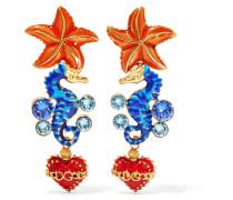 Goldfarbene Ohrclips mit Emaille und Kristallen -