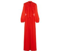 Robe Aus Seiden-georgette Mit Rüschen - Orange