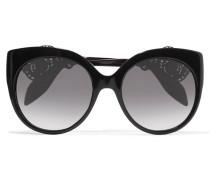 Sonnenbrille Mit Cat-eye-rahmen Aus Azetat Mit Filigraner Verzierung - Schwarz