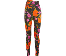 Eng Anliegende Hose Aus Stretch-satin Mit Floralem Print -