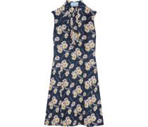 Kleid aus Crêpe mit Blumendruck und Rüschen