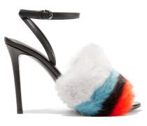 Sandalen Aus Leder Und Gestreiftem Faux Fur -