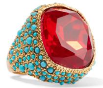 Vergoldeter Ring Mit Kristall Und Cabochons - Rot