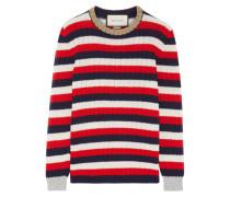 Gestreifter Pullover Aus Einer Woll-kaschmirmischung Mit Metallic-details - Rot