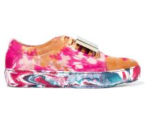 Adriana Sneakers Aus Bedrucktem Kalbshaar Mit Designerbeschlag - Gelb