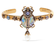 Verete Armspange mit Kristallen, Kunstperlen und Harz