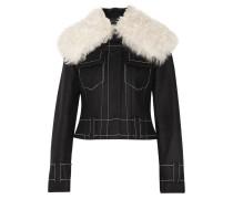Jacke aus Flanell aus einer Wollmischung mit Shearling-Besatz