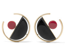 Vergoldete Ohrringe Aus Acryl - Schwarz