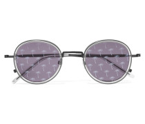 Sonnenbrille Mit Rundem Rahmen Aus Azetat Und Metall - Dunkelgrau