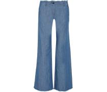 Frayed Hoch Sitzende Jeans Mit Weitem Bein - Blau