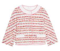 Jacke Aus Bouclé-tweed Mit Spitze Und Ripsbandbesätzen - Pink